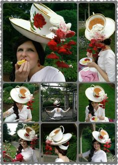 """By Vanessa. """"Like the cards painting the white roses red, my teacup hat is… Crazy Hat Day, Crazy Hats, Steampunk Hat, Steampunk Costume, Fascinator Hats, Fascinators, Headpieces, Tea Party Hats, Rose Decor"""