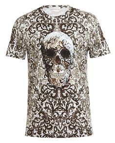 f8286eda ALEXANDER MCQUEEN | Lace and Skull Printed Cotton T-shirt Alexander Mcqueen T  Shirt,