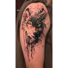 Nature water color tattoo. Wolf. tattoos, hair and makeover ideas ❤ liked on Polyvore featuring accessories, body art and tattoos