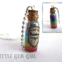SALE - Wizard of Oz Somewhere Over the Rainbow Bottle Necklace - Going Away Gift…
