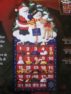 Christmas Bucilla Felt Applique ADVENT CALENDAR Kit,HAPPY HOLIDAYS,Ornaments #Bucilla
