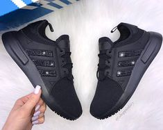 Swarovski Nike Shoes Adidas and More By ShopPinkIvy by ShopPinkIvy Casual Sneakers, All Black Sneakers, Casual Shoes, Bling Nike Shoes, Reebok Princess, Womens Training Shoes, Fresh Shoes, Crazy Shoes, Slip On Shoes