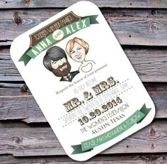 Custom caricature wedding invitation on Etsy, $3.25