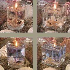 Beach wedding gel candles
