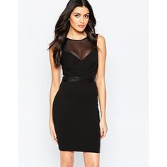 Lipsy Body-Conscious Dress with Sheer Panel ($66) ❤ liked on Polyvore featuring dresses, black, yoke dress, mesh yoke dress, bodycon dress, lipsy and mesh cocktail dress