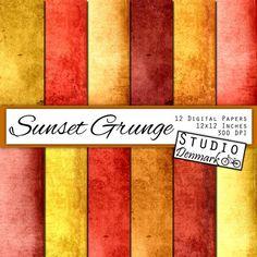 Sunset Grunge Digital Scrapbook Paper 12 Designs by StudioDenmark