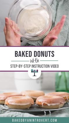 Baked Donut Recipes, Baked Doughnuts, Donuts, Fun Desserts, Delicious Desserts, Dessert Recipes, Yummy Food, Kitchen Recipes, Cooking Recipes