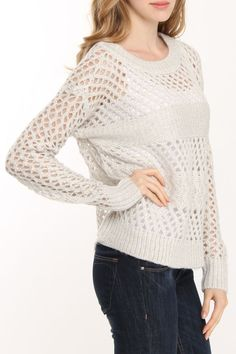 RD Style Chunky Open Knit Sweater In Pearl Twist; perfect for season changes or throwing on late summer evenings! This isn't a pattern, but if I can figure it out it'll knit up quick!