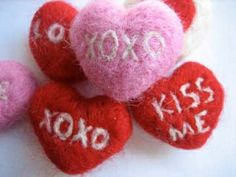 Needle Felted Valentine's hearts