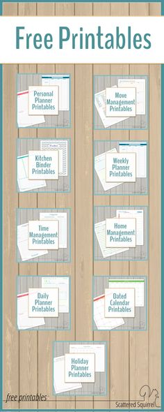 Find a variety of free printables to help meet your planning and organizing needs.