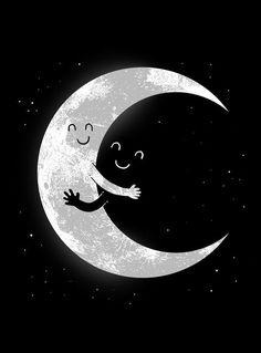 East Urban Home 'Moon Hug' Graphic Art Print on Canvas Size: Ed Wallpaper, Gothic Wallpaper, Cute Wallpaper Backgrounds, Galaxy Wallpaper, Cute Wallpapers, Moon Art, Canvas Prints, Art Prints, Funny Art