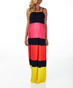 Look at this #zulilyfind! PinkBlush Pink & Yellow Color Block Maternity Maxi Dress #zulilyfinds
