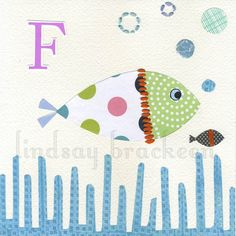 Alphabet Fish Nursery Kids Art Print Letter F. $15,00, via Etsy.