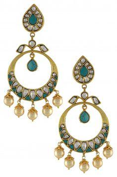 Turquoise Pear Glass Chand Bali Earrings