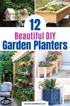 12 Easy DIY Garden Planters- If you want to make your outdoor space more beautiful, then you need to take a look at these 12 easy DIY garden planters! They're perfect for flowers, herbs, or pretty much any plants! | #diyPlanters #diyProjects #gardeningTips #gardenDIY #ACultivatedNest Verticle Garden Wall, Herb Garden Planter, Diy Herb Garden, Garden Ideas, Tiered Planter, Planter Boxes, Flower Tower, Thistlewood Farms, Diy Trellis