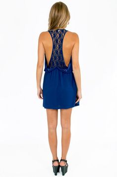 Royal blue with an open lace back