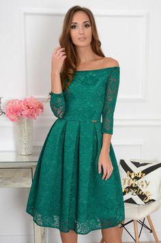 S.Moriss sukienka Scarlet midi szmaragdowa