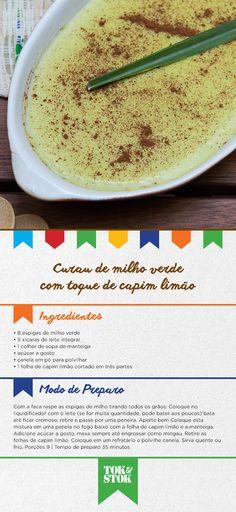 Confira essa receita supreendente: Curau de Milho Verde com Toque de Capim Limão. #SãoJoão #FestaDasCores Receita do restaurante Arimbá http://www.arimbarestaurante.com.br/