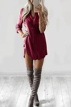 Burgundy Front Button Long Sleeve Curved Hem Dress