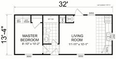 """13.5 x 32 **** floor plan, moved utilities into """"laundry"""" and put fireplace/potbellied stove into corner."""