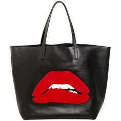 RED VALENTINO Suede Mouth Appliqué Leather Tote Bag ($650) ❤ liked on Polyvore featuring bags, handbags, tote bags, bolsas, purses, accessories, leather hand bags, tote handbags, leather tote purse and leather tote bags