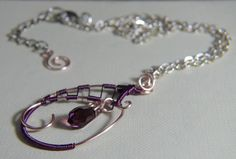 Collana in rame Rosa tenue e Porpora  Pale pink and Purple