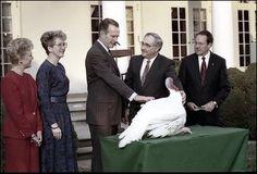 George H. W Bush pardoning a turkey for thanksgiving