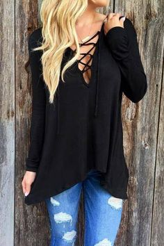 Vino Lace Up Hanky Hem Shirt from mobile - US$15.95 -YOINS