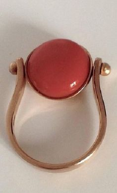 Red Coral Pink Gold Ring