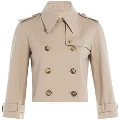 Michael Kors Cotton Trench Jacket (2,960 SAR) ❤ liked on Polyvore featuring outerwear, jackets, coats, coats & jackets, beige, cotton trench coat, pink trench coat, slim fit jackets, cotton jacket and pink cropped jacket