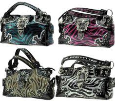 Zebra Print Shiny Western Bling Purse w/Large Rhinestone Buckle, Rivets & More