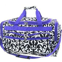 "Large 22"" Purple Trim Damask Print Duffle Dance Gym Bag Luggage Carry On"