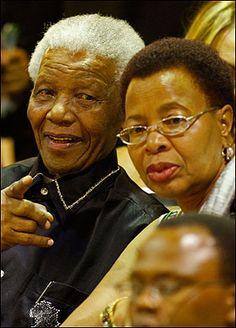Happy ... Nelson Mandela with wife Graca Machel