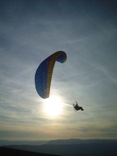 Paragliding and beautiful sunshine.