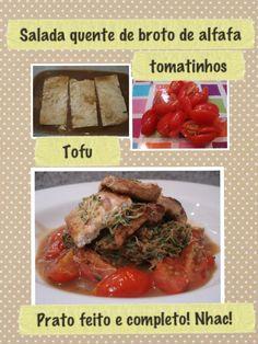 salada quente de tofu e alfafa