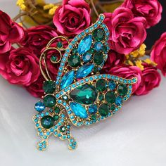 Vintage Style Brooches Blue Flying Butterfly Golden Brooch ...