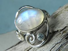Moonstone Ring - Rainbow Moonstone Ring - Swirl Ring - Unique Moonstone Jewelry - Rainbow, Sky Blue, Aqua Blue, Ocean Inspired on Etsy, $165.00