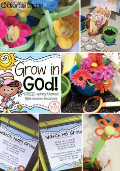 Grow in God: A Spring Bible Lesson Grow in God Spring Themed Bible Lesson Preschool Bible Lessons, Bible Lessons For Kids, Bible Activities, Church Activities, Bible For Kids, Preschool Activities, Spring Activities, Kids Church Lessons, Sunday School Lessons