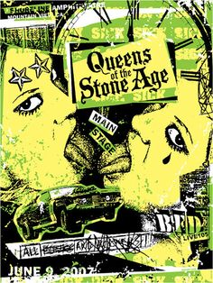 This poster was created by Gregg Gordon / GIGART for Queens Of The Stone Age (QOTSA). They played the main stage at the Summer BFD Concert put on by Live 105. The show had over 25 bands, 3 stages, with the entire event having a DIY Punk Flyer theme. This event took place on June 9, 2007 at Shoreline Amphitheatre in Mountain View, California. This is 1 of 5 posters in a series.  Size: 18 x 24 inch / 3 Color Silk Screen