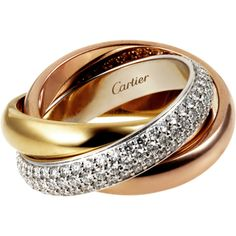 Trinity de Cartier ring, classic White gold, yellow gold, pink gold,... ($12,370) ❤ liked on Polyvore featuring jewelry, rings, 18k gold ring, white gold rings, 18k white gold ring, 18k rose gold ring and red gold ring