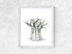 Neutral minimalist baobab tree printable for your home. African Babies, Baobab Tree, Tree Wall Art, Nature Prints, Tree Print, Printable Art, Oversized Mirror, Exotic, Paintings