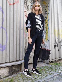 Puma shoes, Bally bag, Weekday jeans, Marimekko stripe tee