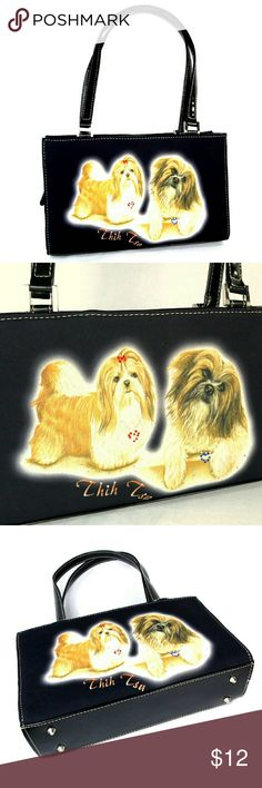 Dog Purse Shih Tzu Dogs Vintage Black Vinyl Fabric A fun purse that lets everyone know where your heart is.Shih Tzu dogs are presented front and back sides on this medium sized purse.The front side adds a little rhinestone bling.?Black printed fabric covers black vinyl. Two top handles.Vinyl zip closure.Silver Tone Hardware. The roomy interior is black fabric and features one zippered pocket.  Measures Approximately: Purse Body 7 inch High,11 inch Wide and 3.5 inch Deep.? Bags Satchels