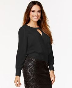 Thalia Sodi Faux-Leather-Trim Pleated Keyhole Blouse, Only at Macy's