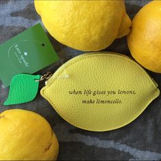 """Kate Spade Lemon Coin Purse Clutch """"When life gives you lemons make limoncello"""" ...okay! Current obsession, I also have the matching earrings in my closet! kate spade Bags Wallets"""