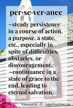 perseverance- my word for the new year. hoping to work on finishing things as I'm really good at starting and having a vision, but not with follow-through.   GidgetGoesHome.com