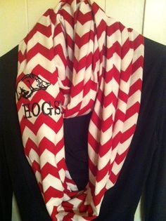 Razorback Infinity Scarves and other Collegiate by AWomansWishList, $28.00 #2013-035 U of A Licensing & Marketing