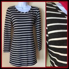 """Black/White Striped Mini Dress! Striped Mini Dress with scoop neck and long sleeves. Perfect for work or weekends! 27"""" from back of neck to hem. Knit material 72% rayon/23% cotton/ 5% spandex. Excellent Condition! Host Pick Thanks @maidmarian!! Bar III Dresses Mini"""