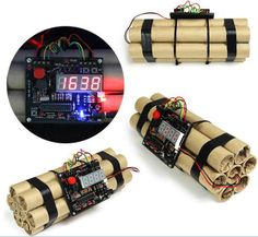 Free Shipping Defusable Alarm Clock / Bomb-like Defuse A Bomb Alarm Clock