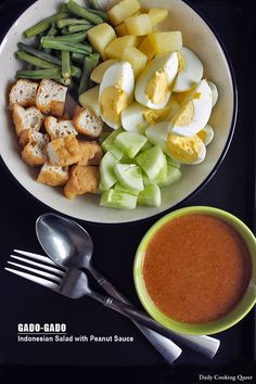 Gado-Gado - Indonesian Salad with Peanut Sauce | I would add kale and beansprouts too!